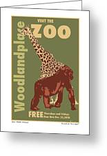 Zoo Poster Greeting Card by Kenneth De Tore