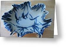 Blue Leafy Bowl Greeting Card by Julia Van Dine
