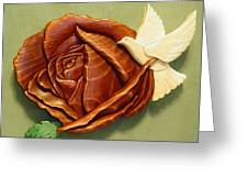 Dove On A Rose Greeting Card by Russell Ellingsworth