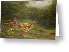 Foxes Waiting For The Prey   Greeting Card by Carl Friedrich Deiker