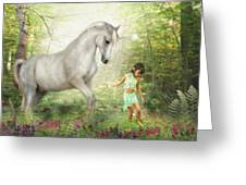 Stella And The Unicorn Greeting Card by Trudi Simmonds
