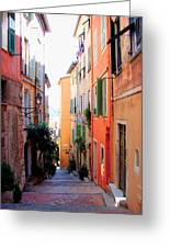 Streets Of Villefranche Greeting Card by Julie Palencia