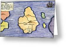 Map Of Atlantis, 1678 Greeting Card by Granger