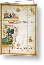 Brazil: Map And Native Indians Greeting Card by Granger