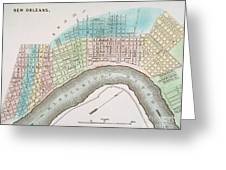 New Orleans Map, 1837 Greeting Card by Granger
