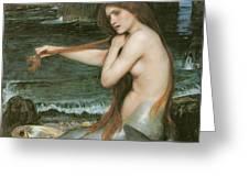 A Mermaid Greeting Card by John William Waterhouse