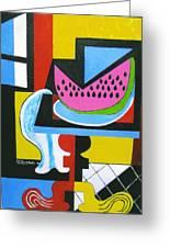 Abstract Watermelon Greeting Card by Nicholas Martori