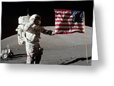 Apollo 17 Astronaut Salutes The United Greeting Card by Stocktrek Images
