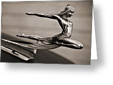 Art Deco Hood Ornament Greeting Card by Marilyn Hunt
