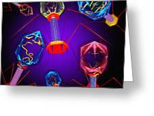 Bacteriophages Greeting Card by Mehau Kulyk