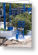Blue Chair Greeting Card by Andrea Simon