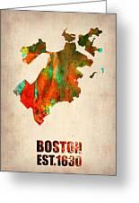 Boston Watercolor Map  Greeting Card by Naxart Studio