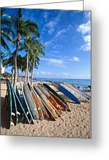 Colorful Surfboards On Waikiki Beach Greeting Card by George Oze