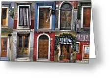 doors and windows of Burano - Venice Greeting Card by Joana Kruse
