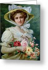 Elegant Lady With A Bouquet Of Roses Greeting Card by Emile Vernon