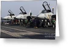 F-14d Tomcats On The Flight Deck Of Uss Greeting Card by Gert Kromhout