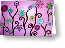 Flower Fest Greeting Card by Pristine Cartera Turkus