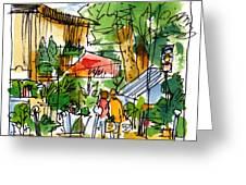 Flower Market Paris Greeting Card by Marilyn MacGregor