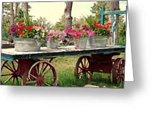 Flower Wagon Greeting Card by Susanne Van Hulst