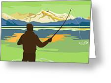 Fly Fisherman Casting Greeting Card by Aloysius Patrimonio