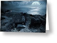 Fullmoon Over The Ocean Greeting Card by Jaroslaw Grudzinski