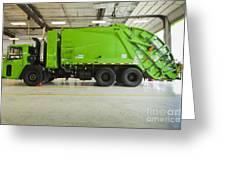 Green Garbage Truck Maintenance Greeting Card by Don Mason