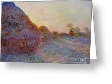 Haystacks Greeting Card by Claude Monet