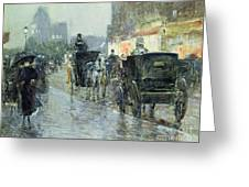 Horse Drawn Cabs at Evening in New York Greeting Card by Childe Hassam