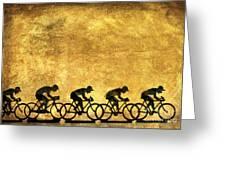 Illustration Of Cyclists Greeting Card by Bernard Jaubert