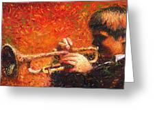 Jazz Trumpeter Greeting Card by Yuriy  Shevchuk