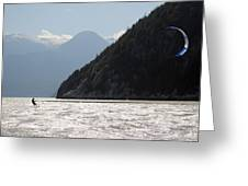 Kite surfing the Spit in Squamish B.C Canada Greeting Card by Pierre Leclerc Photography