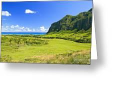Kualoa Ranch Mountains Greeting Card by Dana Edmunds - Printscapes
