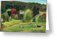 Landscape With Cows Greeting Card by Ethel Vrana