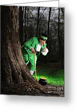 Leprechaun With Pot Of Gold Greeting Card by Oleksiy Maksymenko