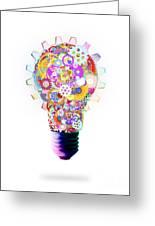 Light Bulb Design By Cogs And Gears  Greeting Card by Setsiri Silapasuwanchai