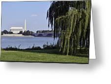 Lincoln Memorial And Washington Monument From The Potomac River Greeting Card by Brendan Reals