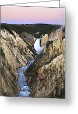 Lower Falls On The Yellowstone River Greeting Card by Drew Rush