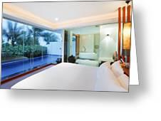 Luxury Bedroom Greeting Card by Setsiri Silapasuwanchai
