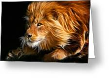 Male Lion Fractal Greeting Card by Julie L Hoddinott