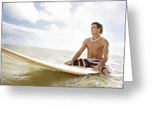 Male Surfer Greeting Card by Brandon Tabiolo - Printscapes