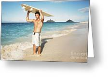 Man At The Beach With Surfboard Greeting Card by Brandon Tabiolo - Printscapes