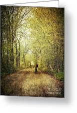 Man Walking  On A Lonely Country Road Greeting Card by Sandra Cunningham