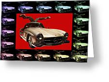 Mercedes 300sl Gullwing . Front Angle Artwork Greeting Card by Wingsdomain Art and Photography