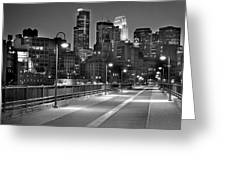 Minneapolis Skyline from Stone Arch Bridge Greeting Card by Jon Holiday