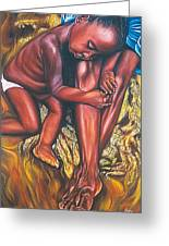 Mother And Child Greeting Card by Shahid Muqaddim