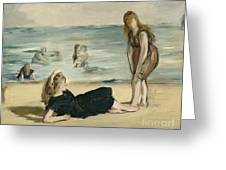 On The Beach Greeting Card by Edouard Manet