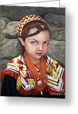 Pakistani Girl Greeting Card by Enzie Shahmiri