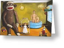 Playroom Nightmare 2 Greeting Card by Leah Saulnier The Painting Maniac