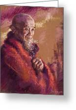 Portrait Of A Monk Greeting Card by Ellen Dreibelbis