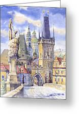 Prague Charles Bridge Greeting Card by Yuriy  Shevchuk